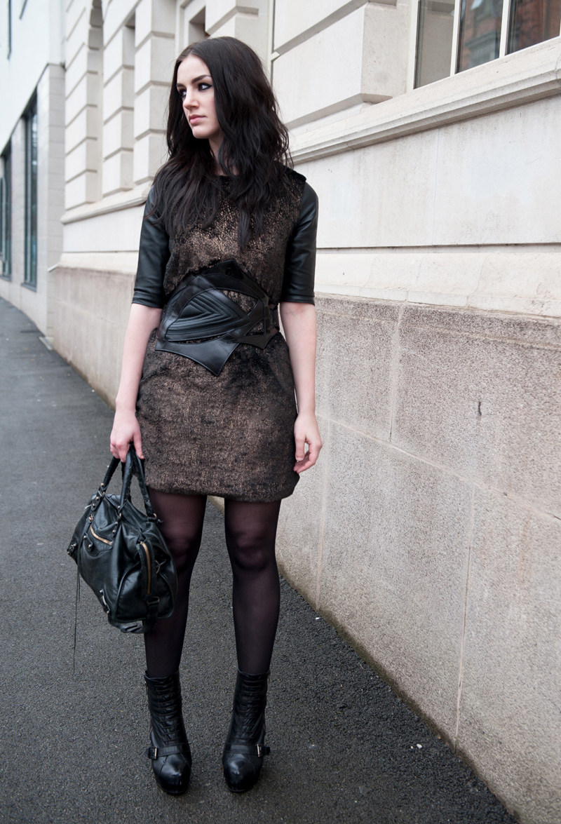FAIIINT Outfit, ASOS Revive Faux Fur Metallic Bronze Shift Dress with Leather Back & Bracher Emden Belt, Topshop Laced Boots, Balenciaga City bag