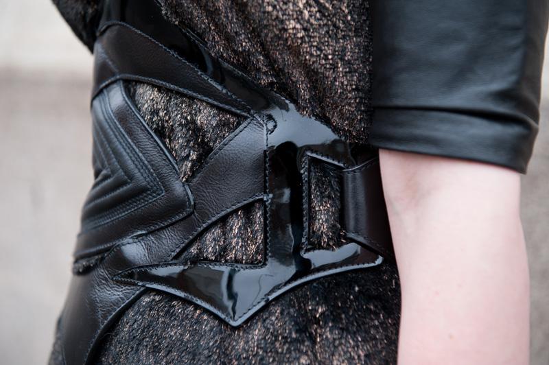 FAIIINT Outfit detail, ASOS Revive Faux Fur Shift Dress with Bracher Emden Belt