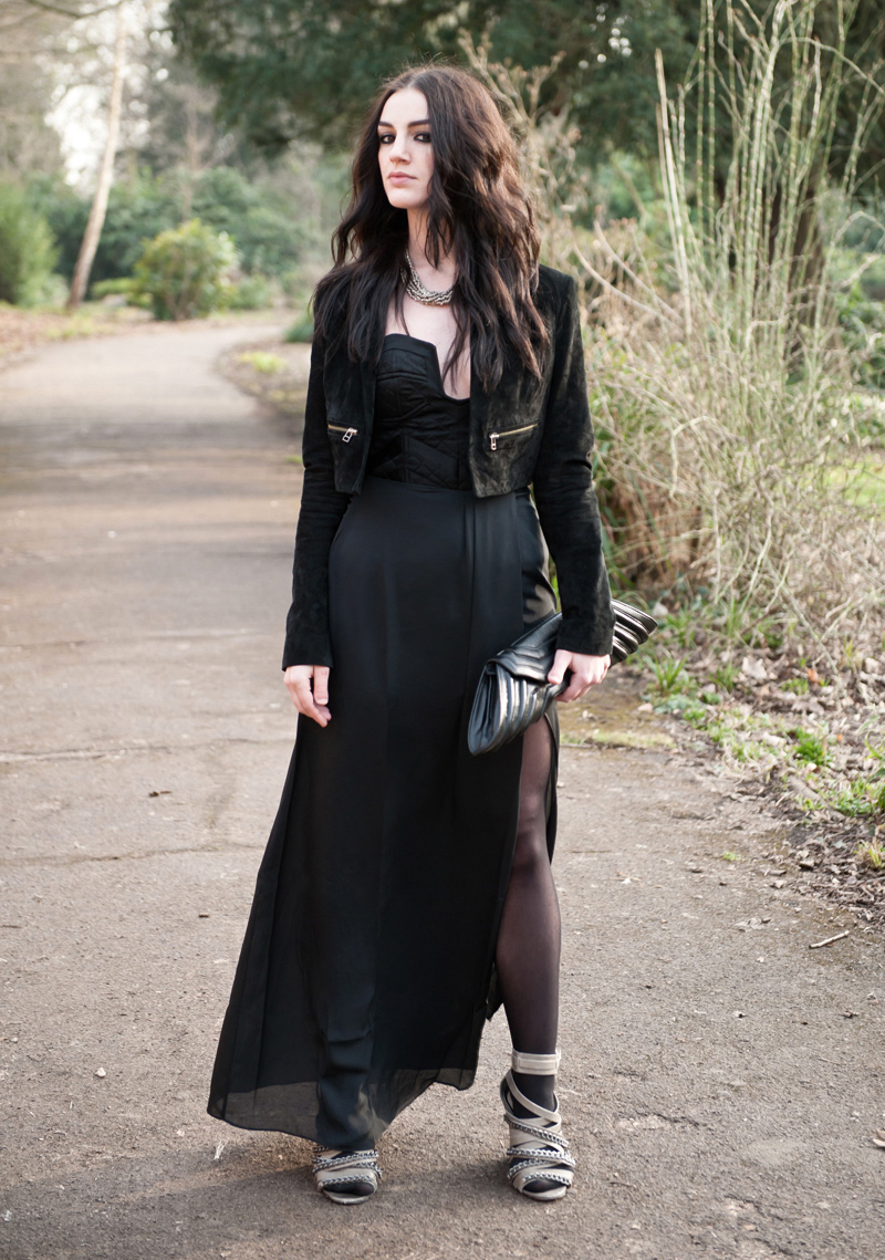 FAIIINT, Outfit, Oscars, Baftas, Awards, Ceremony, ASOS, Topshop, Bracher Emden, Allsaints, Black, Maxi, Suede, Jacket, Cropped, Taupe, Chain, Wedges, Clutch, Blogger, Quilted, Bustier, Strapless, Dress
