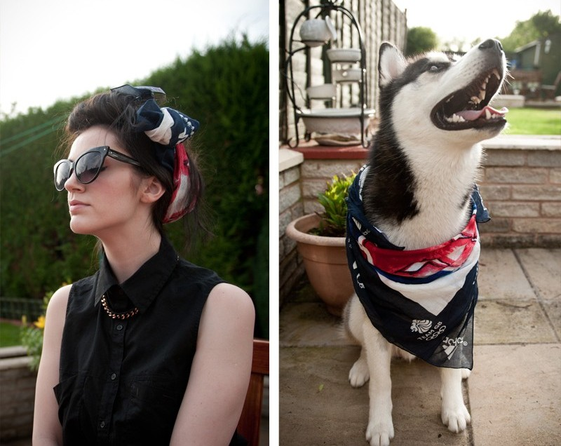 Summer, Oufit, Olympics, Next, Next Scarf, 2012, London Olympics, Supporters Scarf, Ligia Dias Necklace, ASOS, Shirt, Sleeveless, Head Scarf, 50's, Retro, Quiff, Hair Roll, Cat Eye Sunglasses, All Saints, Husky, Puppy, Siberian Husky