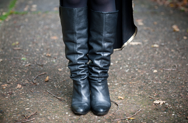 FAIIINT, Outfit, Boots, Leather, Knee High, Topshop, Slouchy, Black, Distressed, Battered, Detail, Shoes