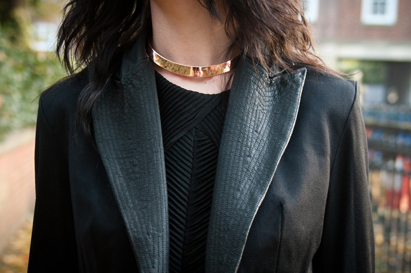 FAIIINT, Blazer, Jacket, Cropped, Leather, Lapels, Collar, Stitching, Pattern,