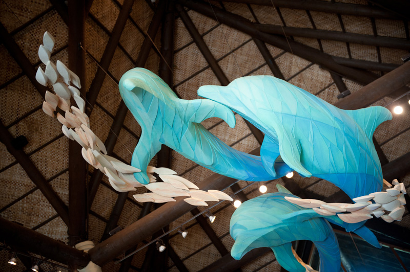 Discovery Cove, Sea World, Florida, Orlando, Dolphins, Sculpture, Statue, Carved, Decoration, Ceiling, Lobby, Lodge,