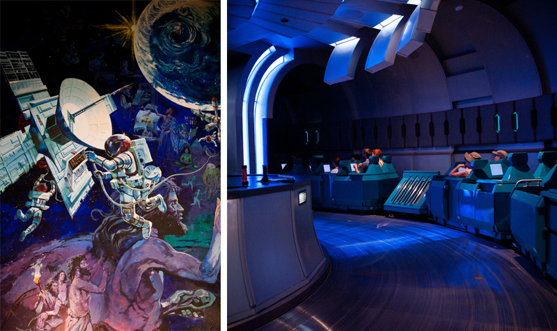Epcot, Disney, Walt Disney, Disneyland, Florida, Disney World, Spaceship Earth, Inside, Ride, Attraction, Space, Time Travel