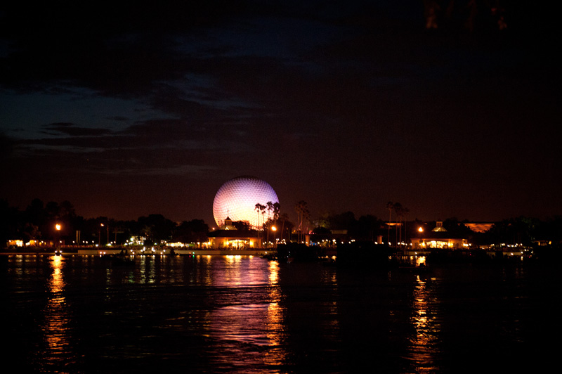 Epcot, Disneyland, Disney, Walt Disney, Florida, Disney World, World Showcase, Golf Ball, Spaceship Earth, Fireworks, Lake, Lagoon, Night, Illuminated,