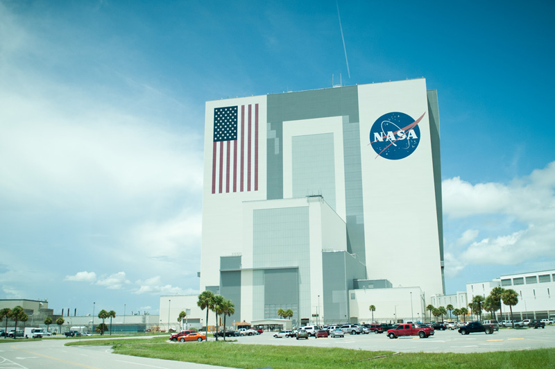 Kennedy Space Center, Cape Canaveral, Florida, Rocket, Space, Shuttle, Building, American Flag, NASA, Visitor Complex