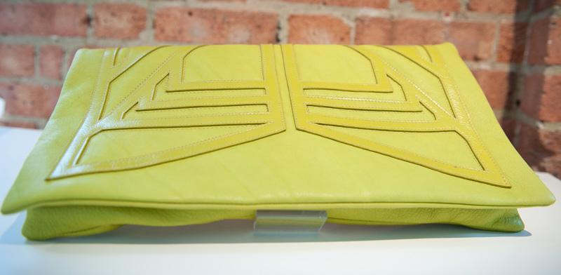 Bracher Emden, Green, Lime, Neon, Bags, Handbags, Clutch, Unique, Handmade, Large, Big, Textured, Geometric, Pattern, Applique, Leather