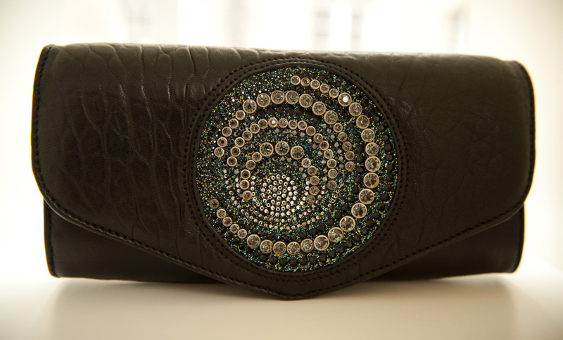 Bracher Emden, Black, Bags, Handbags, Clutch, Unique, Handmade, Large, Big, Textured, Leather, Swarovski, Crystal, Encrusted, Jeweled, Jewel,
