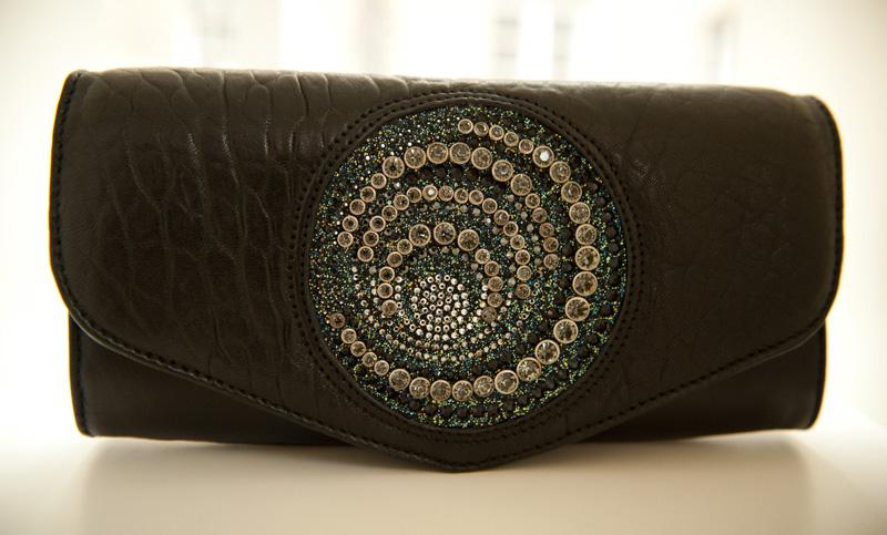 Bracher Emden, Black, Bags, Handbags, Clutch, Unique, Handmade, Large, Big, Textured, Leather, Swarovski, Crystal, Encrusted, Jeweled, Jewel,