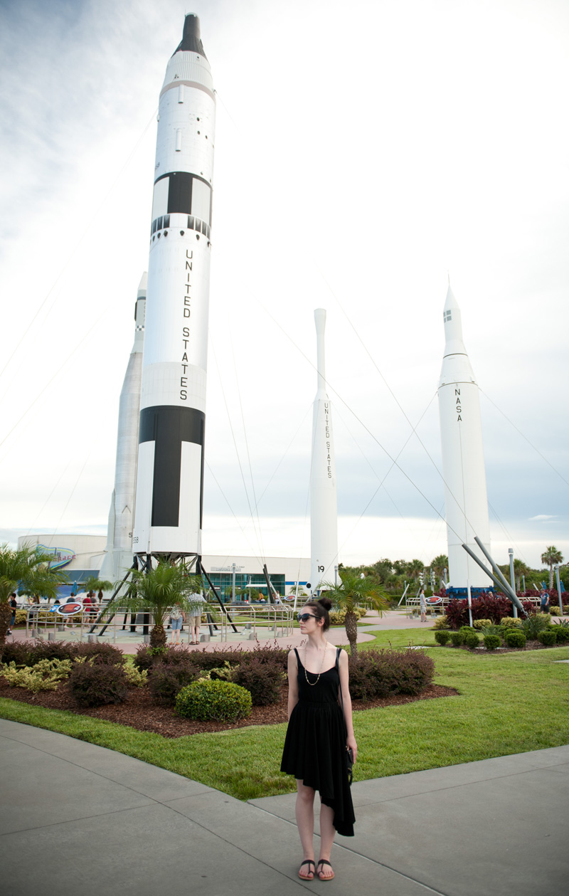 Kennedy Space Center, Florida, Rocket, Shuttle, Asymmetric, Dress, Skirt, Black, Casual, Outfit, OOTD, WIWT, Cross, Necklace, Gold, Cat Eye, Sunglasses, Sandals