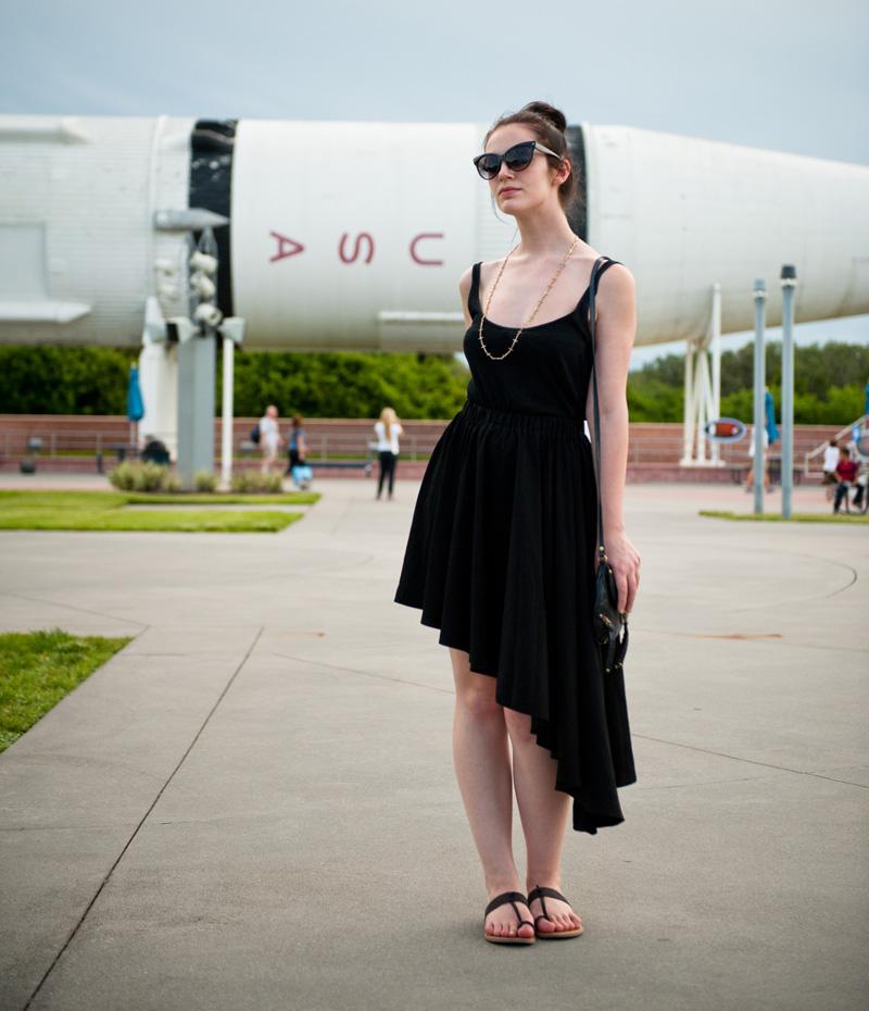 Kennedy Space Center, Florida, Rocket, Shuttle, Asymmetric, Dress, Skirt, Black, Casual, Outfit, OOTD, WIWT, Cross, Necklace, Gold, Cat Eye, Sunglasses, Sandals, GAP, A Wear, Topshop, ASOS, CC Skye, AJ Morgan