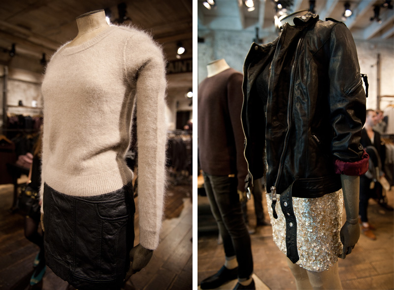 All Saints, Fashion's Night Out, FNO, 2012, Collection, Autumn, Winter, Party, New Season, Leather, Coat, Jacket, Store, Mannequin, Black, Grey, Sequin, Mohair, Jumper, Sweater
