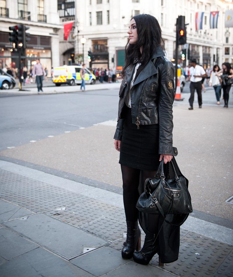 Fashions Night Out, FNO, London, Three Floor, Shirt, Jewel, Collar, Gem, Dress, Belstaff, Jacket, Waxed, Balenciaga, City, Bag, Street, London, Fashion, Topshop, Boots, Walking