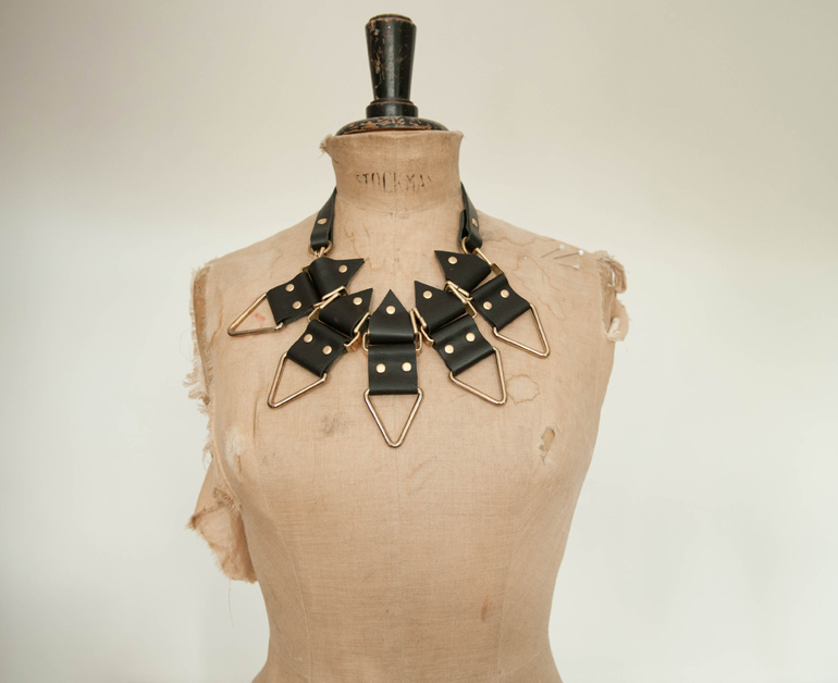 Moxham, Anubis, Necklace, Black, Hardware, Jewellery, Mannequin, Leather, Statement