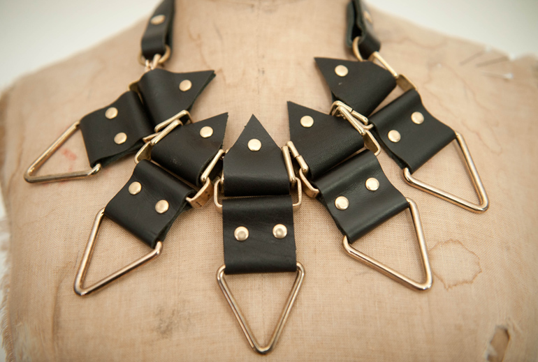 Moxham, Anubis, Necklace, Black, Hardware, Jewellery, Mannequin, Leather, Statement, Detail, Close up