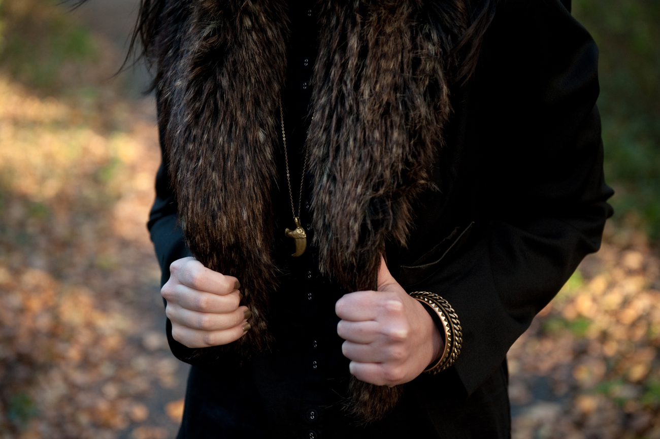 FAIIINT, Fur Collar, Cropped, Jacket, Outfit, Park, Woodland, Antler, Leggings, Black, Boots, Balenciaga Bag, Topshop, All Saints
