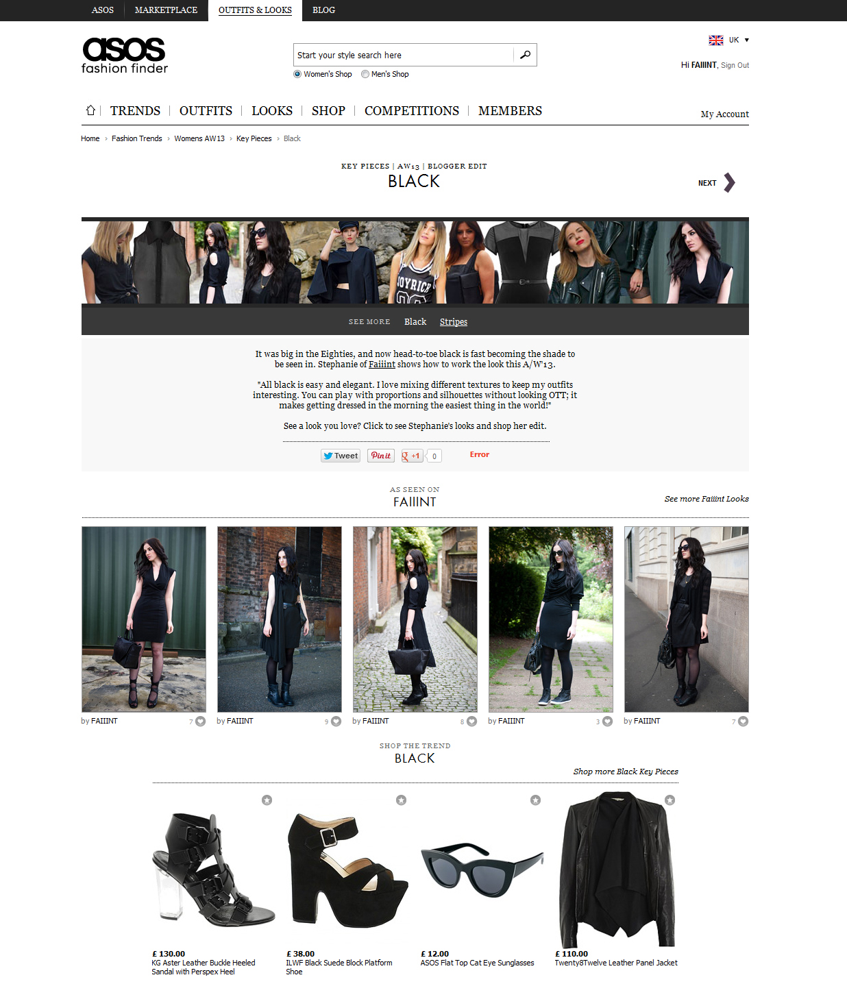 FAIIINT ASOS fashion finder 'blogger key pieces' feature on all black clothing