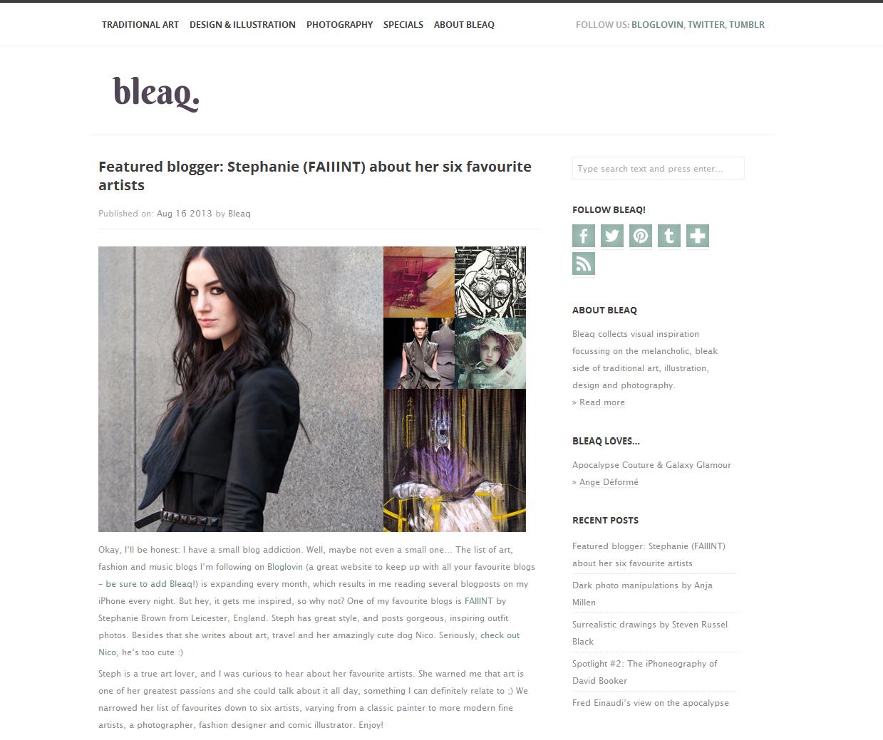 Stephanie of FAIIINT Bleaq featured blogger & my six favourite artists interview.