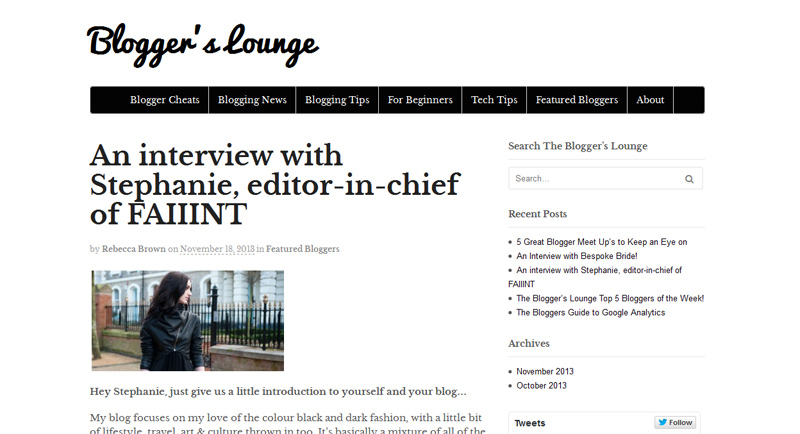 Stephanie of FAIIINT bloggers lounge interview feature