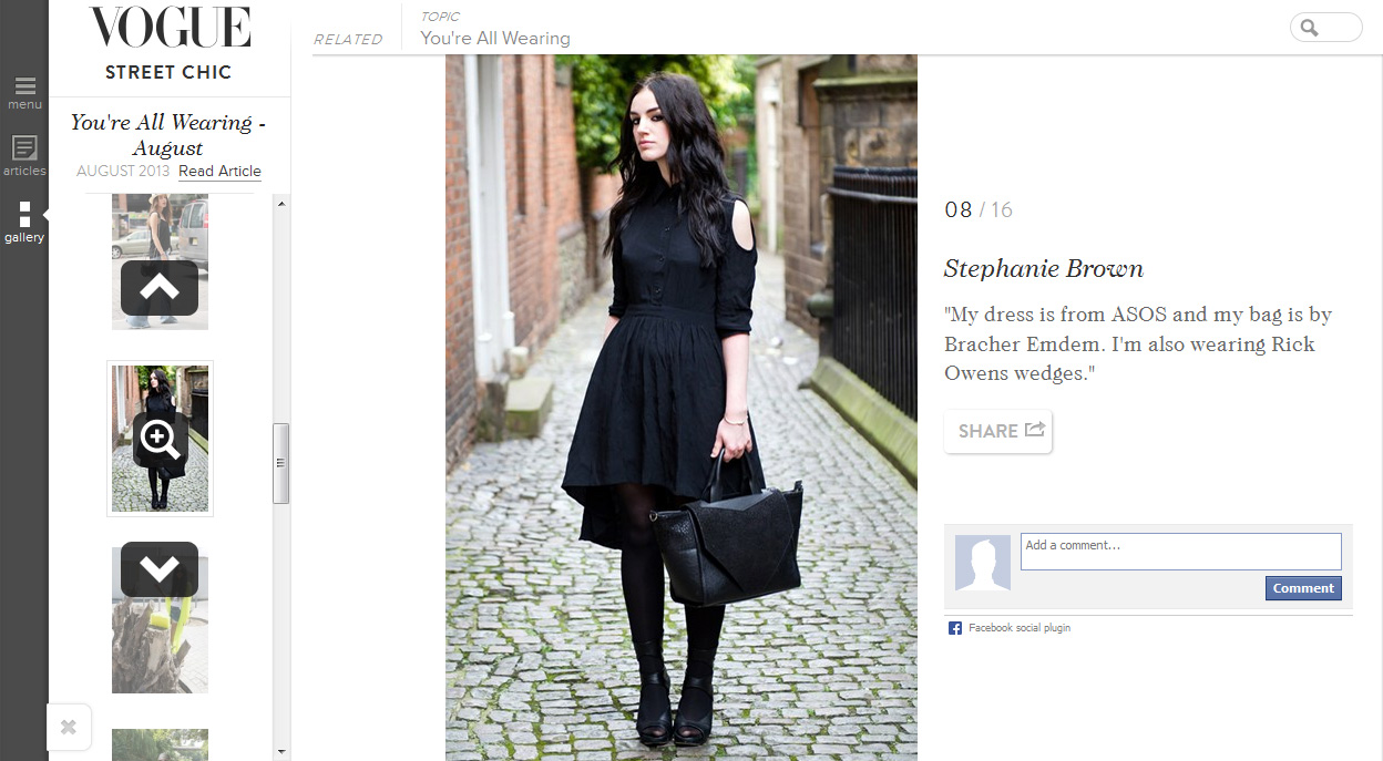 Stephanie of FAIIINT featured in Vogue's 'You're All Wearing' street style round up for August. Black, gothic outfit, ASOS shirt dress, Bracher Emden Bag, Rick Owens Wedges