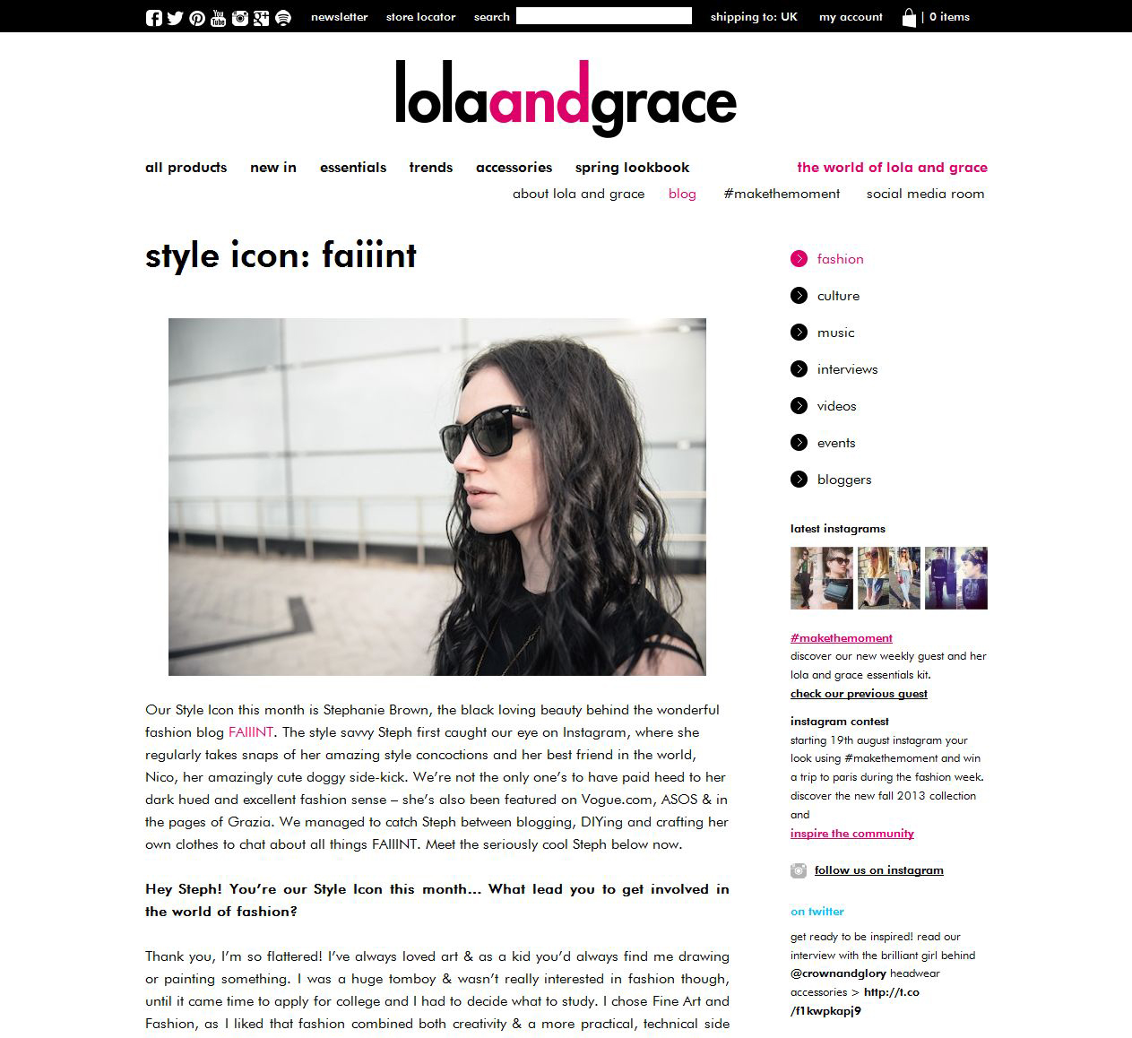 FAIIINT Interview feature with Lola & Grace as part of their blogger Style Icon series.