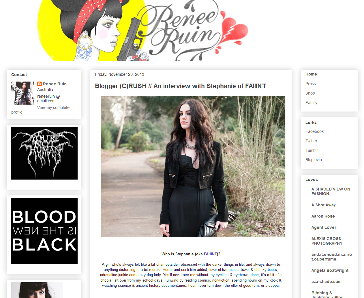 Stephanie of FAIIINT fashion blogger interview with Renee Ruin of Seriously Ruined