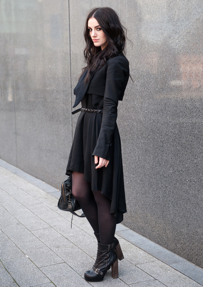 Fashion Blogger FAIIINT wearing Todd Lynn for Topshop Cropped Tux Jacket, ASOS Dipped Hem Dress, Topshop Studded Belt, Topshop Boots, AllSaints Silver Necklace, Balenciaga City Bag. Gothic, goth, dark fashion, all black, street style