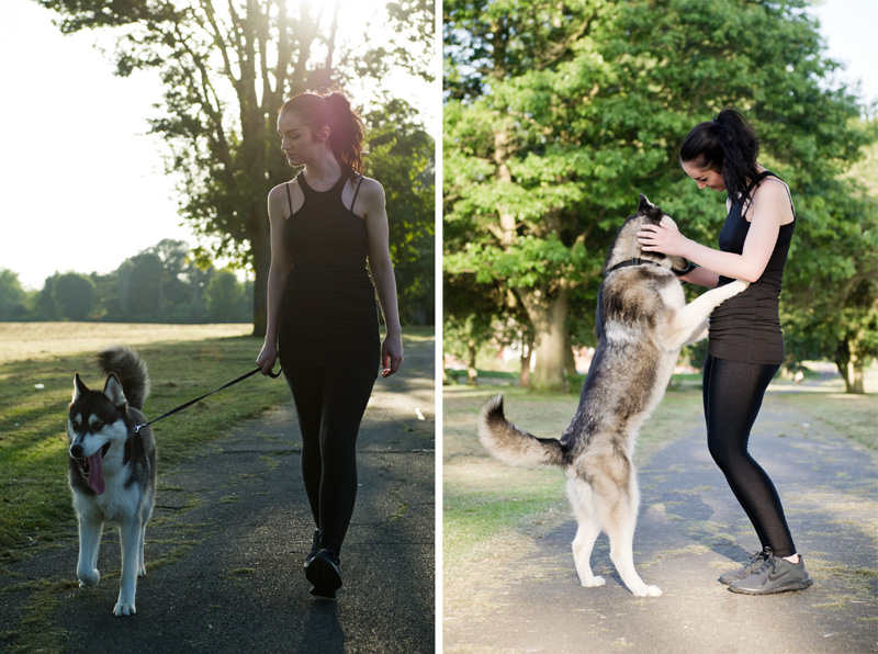 Fashion blogger Stephanie of FAIIINT wearing Nike Free 4.0 v3 anthracite & black running shoes, trainers, ASOS tank top, American Apparel disco leggings. All black running outfit with Nico Siberian Husky dog.