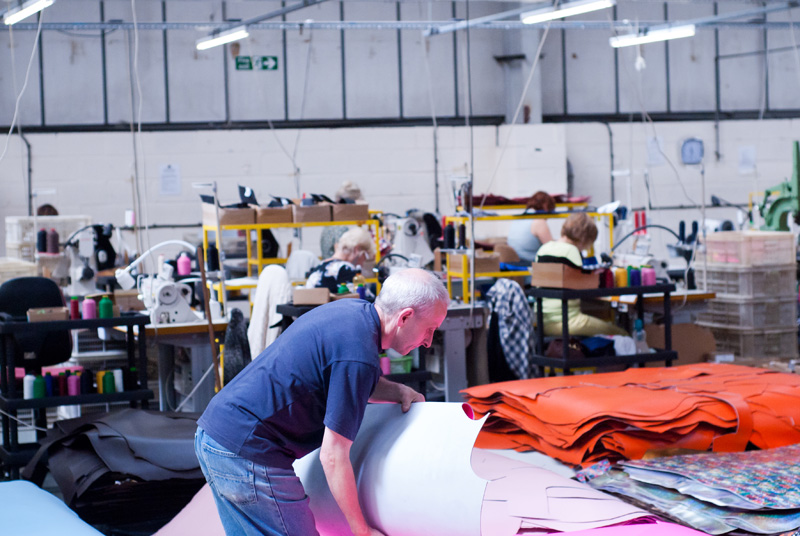 FAIIINT Zatchels factory shop opening Leicester, workers making satchel bags in the factory, sewing machinists, leather fabric materials