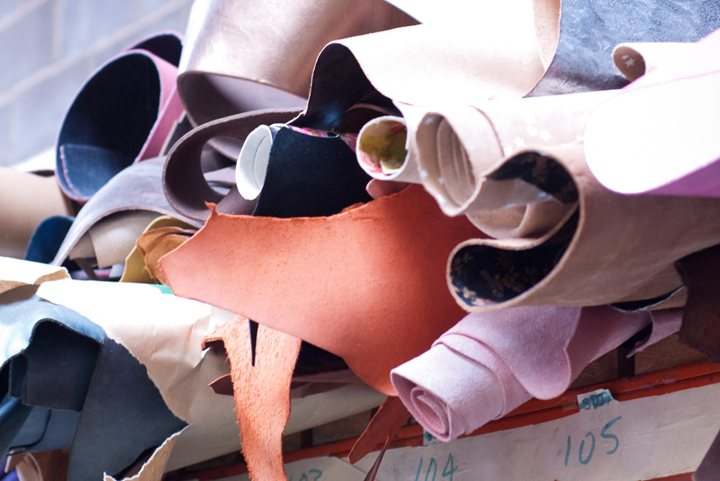 FAIIINT Zatchels factory shop opening Leicester, rolls of leather fabric ready for making satchels in the factory