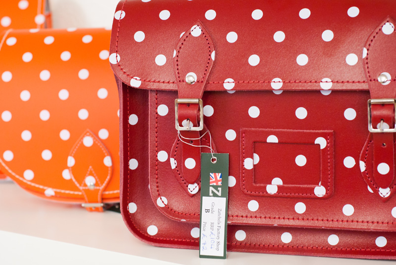 FAIIINT Zatchels factory shop opening Leicester, Red polkadot leather satchel, british made