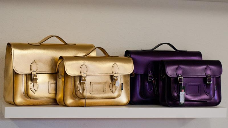 FAIIINT Zatchels factory shop opening Leicester, Metallic Gold & midnight purple foil leather satchels, British made