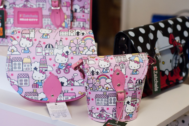 FAIIINT Zatchels factory shop opening Leicester, pink Hello Kitty & black polkadot leather satchel bags