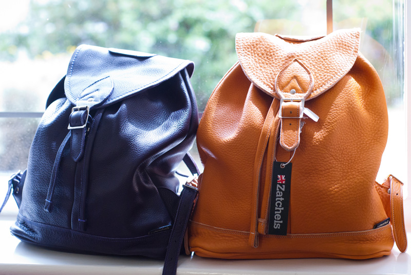 FAIIINT Zatchels factory shop opening Leicester, Orange & Navy Blue leather duffel bag backpacks, British made