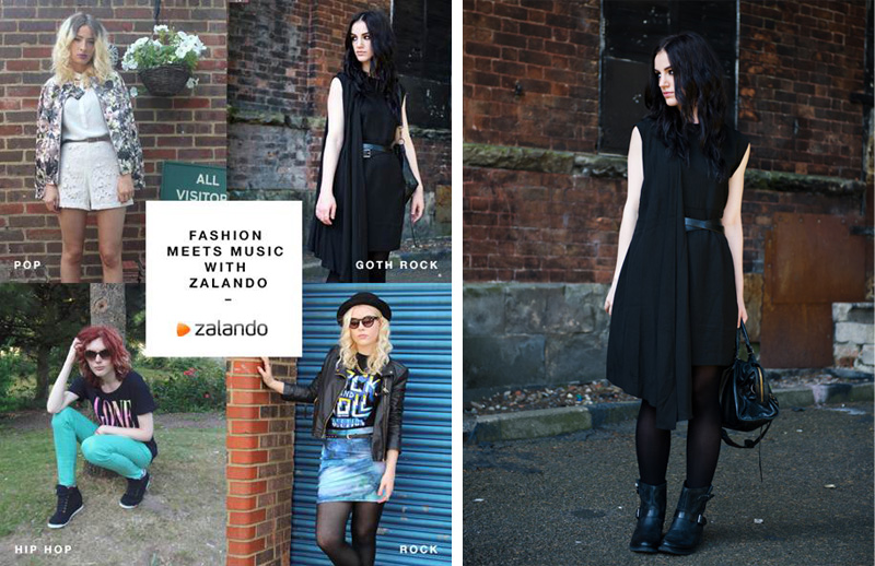 Fashion blogger Stephanie of FAIIINT wearing Zalando collection draped asymmetric dress, Pier One Flat biker ankle boots, all black, fashion meets music with Zalando, goth rock,