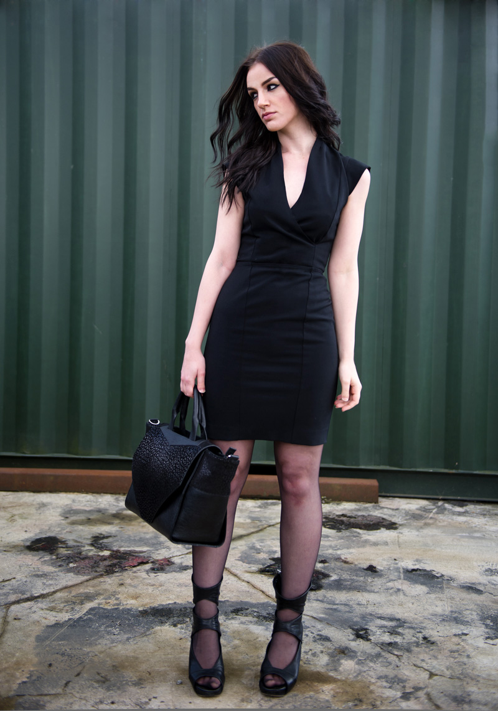 Fashion blogger Stephanie of FAIIINT wearing French Connection Manhattan black wrap over dress, Bracher Emden classic tote bag, Rick Owens cut out wedges. Minimal, oriental, eastern, sci fi.