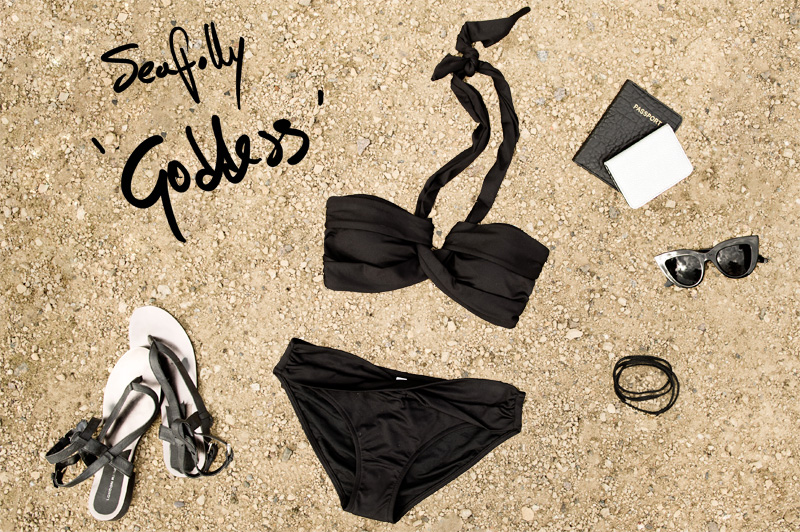 FAIIINT Bikini shopping round up, Seafolly Goddess draped grecian black bikini, with London Rebel Sandals, ASOS cat eye sunglasses & travelcard holders, Gorjana leather wrap bracelet. All black swimwear styling.