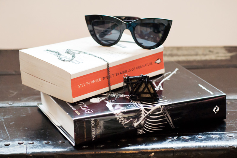 FAIIINT new in, current favourite things ASOS cateye sunglasses, Belle's Bejewelled perspex geometric diamond necklace, Evolution in action by Jean-Baptiste de Panafieu & Patrick Gries, The better angles of our nature by Steven Pinker
