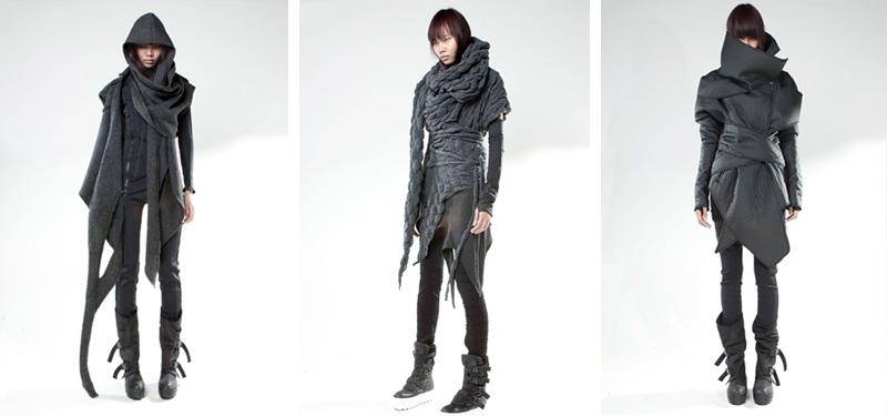 Demobaza AW13 collection, draped, grunge, gothic, dark style