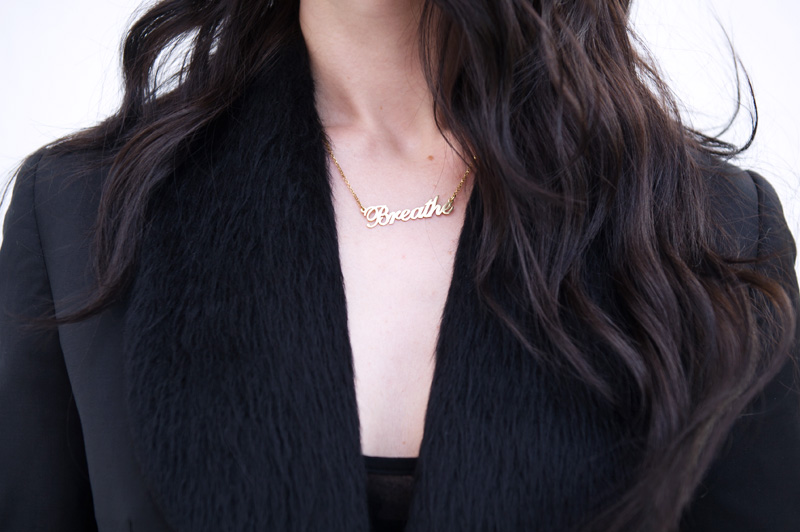 Fashion blogger Stephanie of FAIIINT wearing gold ONecklace name necklace, Todd Lynn for Topshop cropped Tux Jacket. All black, goth, dark, street style.