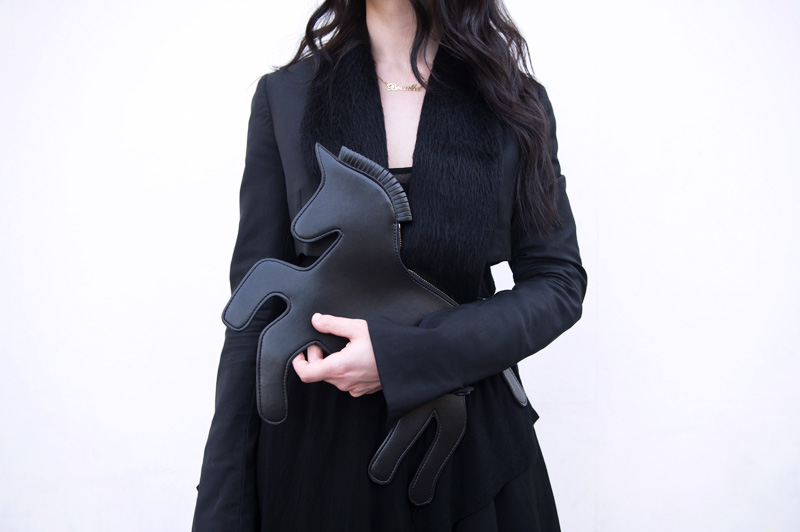 Fashion blogger Stephanie of FAIIINT wearing Choies black unicorn clutch bag, Todd Lynn for Topshop cropped Tux Jacket, Topshop Asymmetric top. All black, goth, dark, street style.