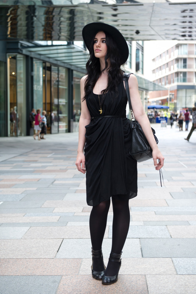 Fashion blogger Stephanie of FAIIINT wearing Catarzi fedora, Allsaints draped silk dress, Vivienne Westwood animal toe shoes, Balenciaga city bag. All black, dark style, gothic outfit, street style
