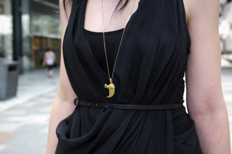 Fashion blogger Stephanie of FAIIINT wearing Catarzi fedora, Allsaints draped silk dress