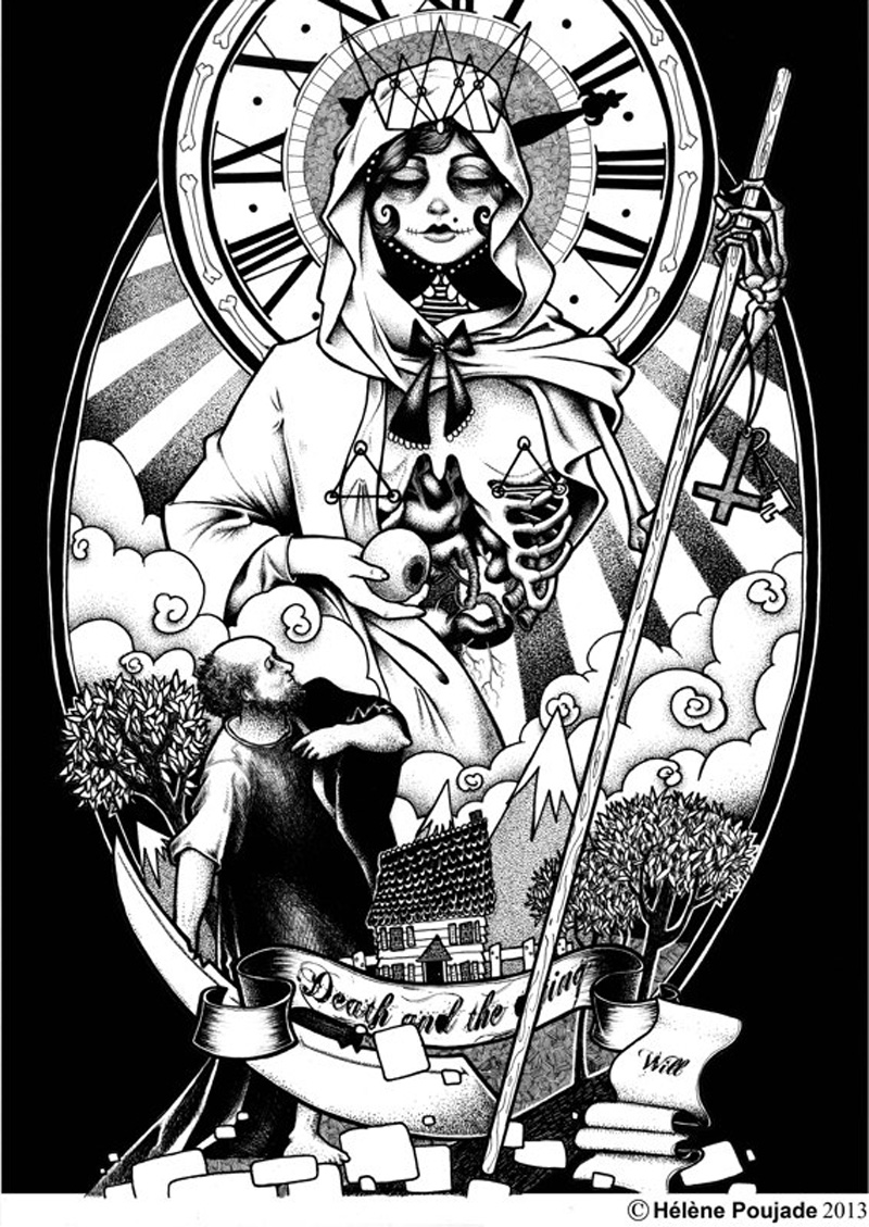 Hélène Poujade death & dying - pen & ink illustration, graphic, tattoo, artist, black & white.