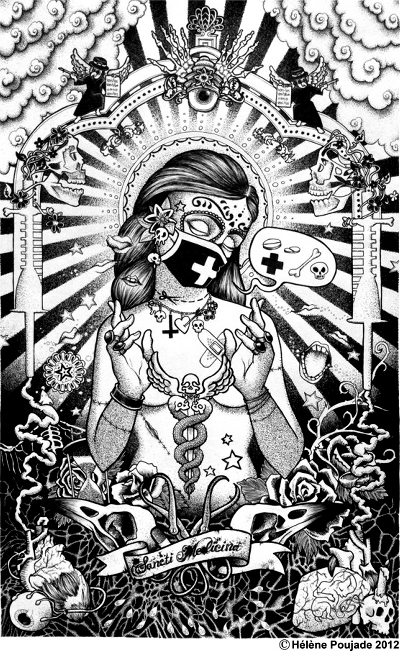 Hélène Poujade sancti medicina - pen & ink illustration, graphic, tattoo, artist, black & white.