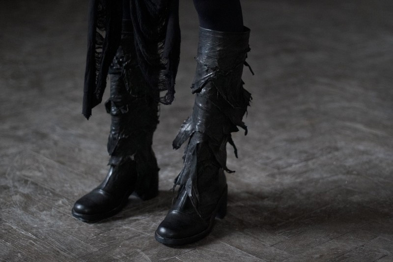 Konstantin Kofta 'Hug' collection ripped torn black leather boots, distressed. Dark style, gothic, indepenent designer, lookbook