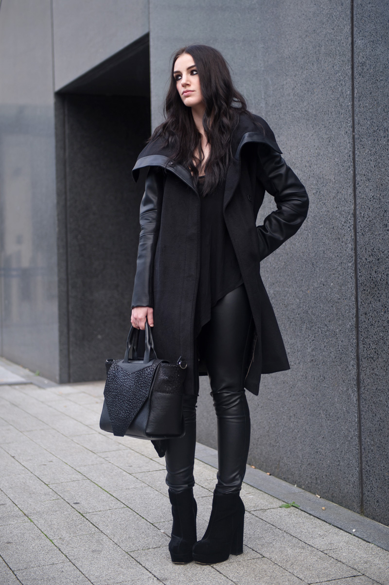 Fashion blogger Stephanie of FAIIINT wearing Next faux leather & wool black coat & leggings, Bracher Emden classic tote bag, Stylistpick velvet boots & Topshop asymmetric top. Dark style, all black, black on black, sci fi, goth.