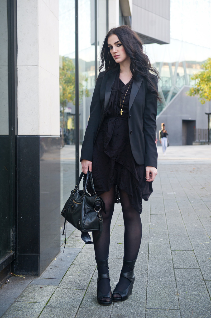 Fashion blogger Stephanie of FAIIINT wearing Superdry x Timothy Everest Rock Rebel Blazer, Allsaints draped anglaise dress, Rick Owens wedges, Balenciaga city bag. All black outfit.