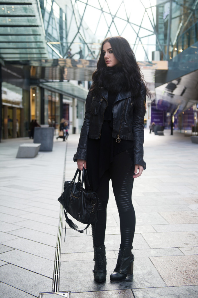 Fashion blogger Stephanie of FAIIINT wearing Belstaff Sammy Miller Waxed Biker Jacket, Faux Fur snood scarf, Topshop asymmetric vest, Evil Twin zero paneled leggings, Topshop lace up boots, Balenciaga city bag. All black outfit, sci fi, superhero, goth, street style.
