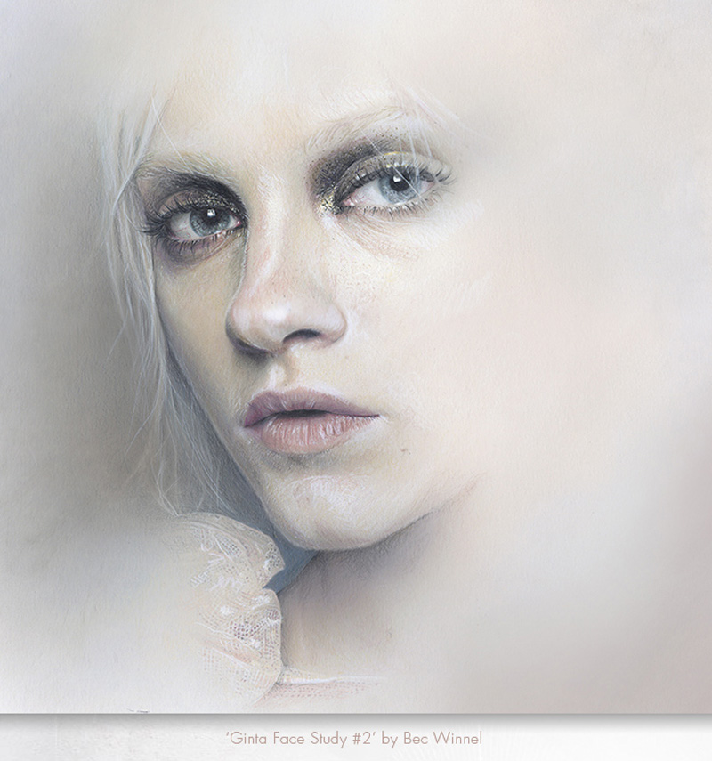Bec Winnel Ginta Lapina Face Study Illustration coloured pencils pastels watercolour paint wash
